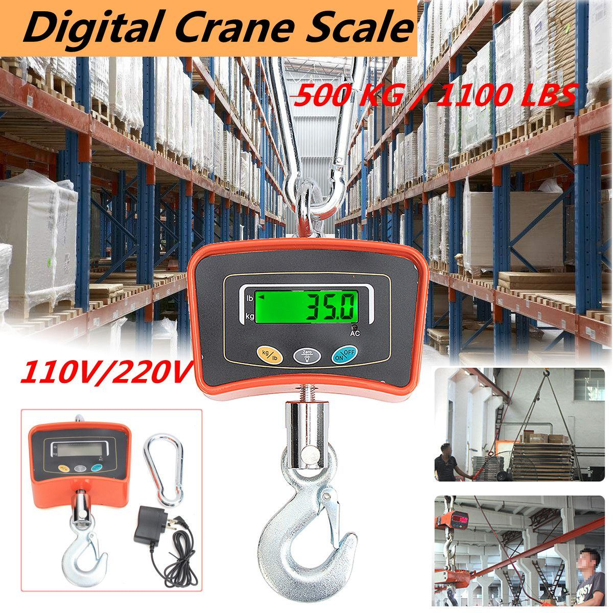 500KG/1100 LBS Digital Crane Scale 110V/220V Heavy Industrial Hanging Scale Electronic Weighing Balance Tools