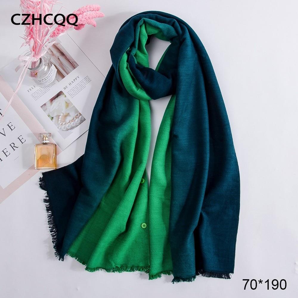 Long Warm Cashmere Scarf Women Shawls Poncho Button Hijab Stoles Bohemian Big Winter Women Scarves For Ladies Luxury Brand 2019