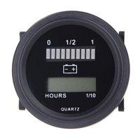 プロモーション! 12v/24v/36v/48v/72 12v ledデジタルバッテリー状態充電インジケータアワーメーターゲージと黒