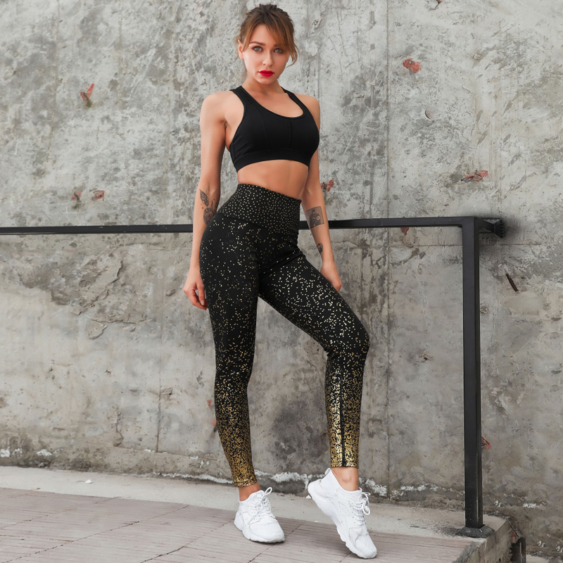 2019 Hot Stamping Pants Women Golden High Waist Sports Fitness Leggings Push Up Female Pencil Pants Ladies Sportswear Trousers in Leggings from Women 39 s Clothing