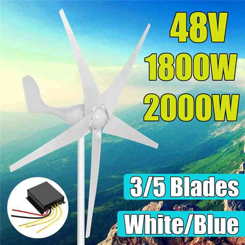 1800 Вт 2000 Вт 48 Вольт 3/5 нейлон волокно лезвие горизонтальный домашний ветер генератор турбин мощность ветряная мельница энергии для турбин заряда
