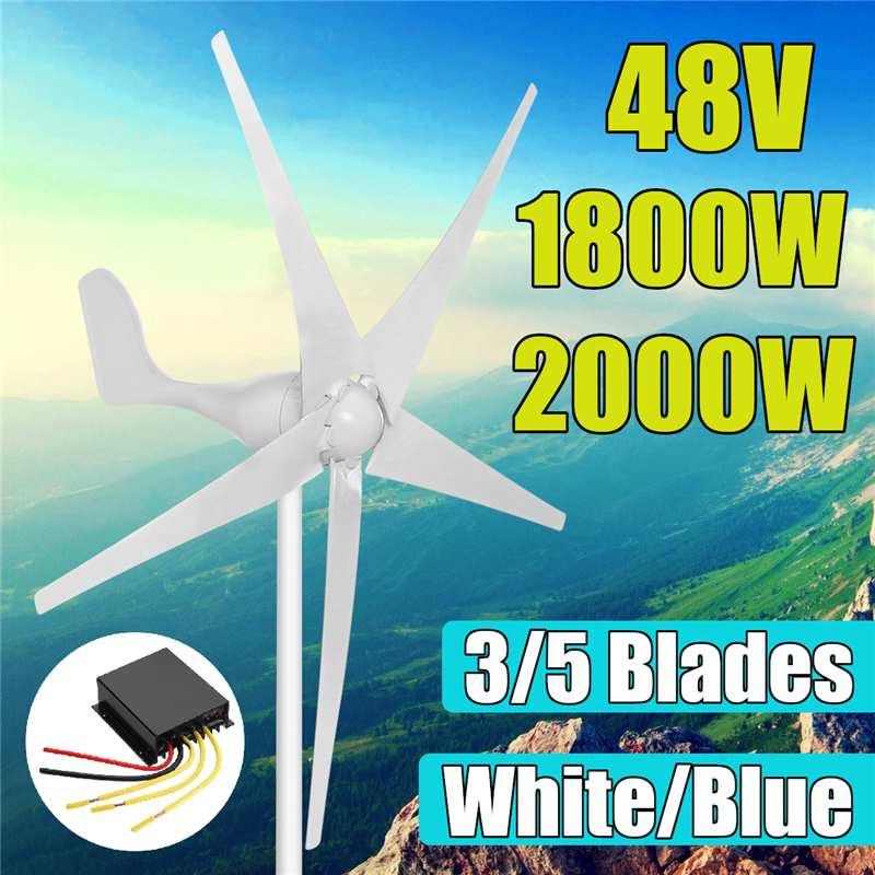 1800 W 2000 W 48 volts 3/5 lame de Fiber de Nylon vent à la maison Horizontal pour Turbines générateur énergie éolienne pour la Charge des Turbines