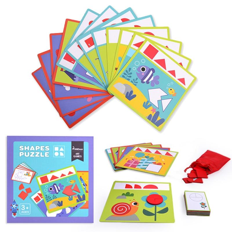 36 pièces forme géométrique Puzzle ensemble jouets enfant début éducatif assemblage modèle Tangram Puzzle jeu de Puzzle