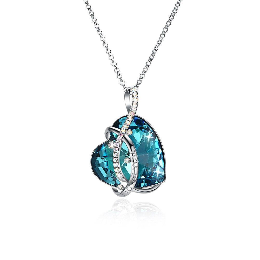 Haute qualité 100% pur argent Sterling amour en forme de coeur chandail chaîne bleu cristal pierre pendentif collier bijoux de mariage fin