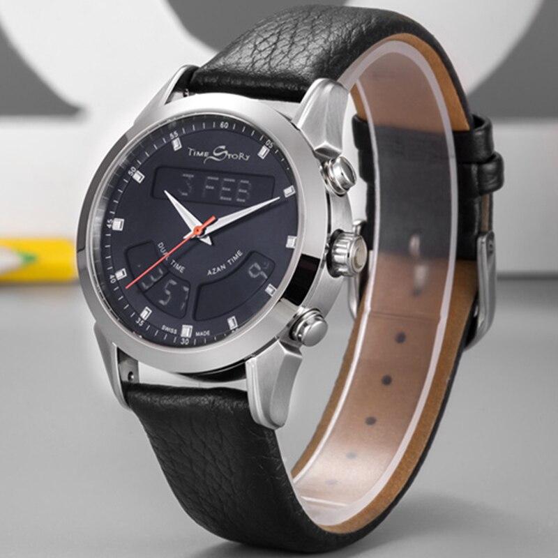 Image 2 - Muslim Watch with Genuine Leather Strap Waterproof Islamic Azan Wristwatch Men ClockDigital Watches
