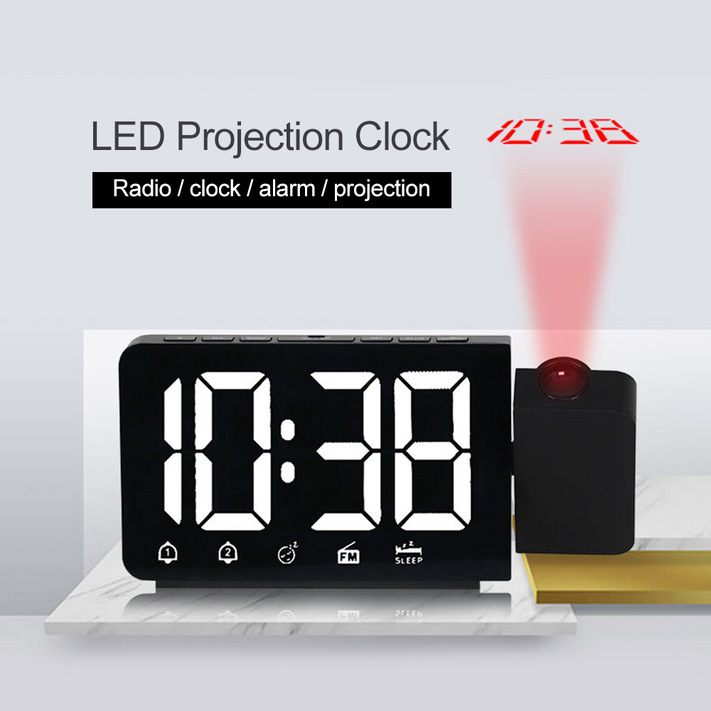 Display LED criativo Despertador Wake Up Table Desk Clock Snooze Backlight Projetor Rodada Suporte Rádio FM Para A Decoração Da Casa