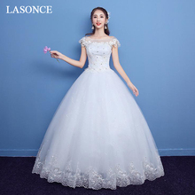 LASONCE Lace Appliques Ball Gown Wedding Dresses Illusion Crystal O Neck Short Cap Sleeve Backless Bridal Gowns
