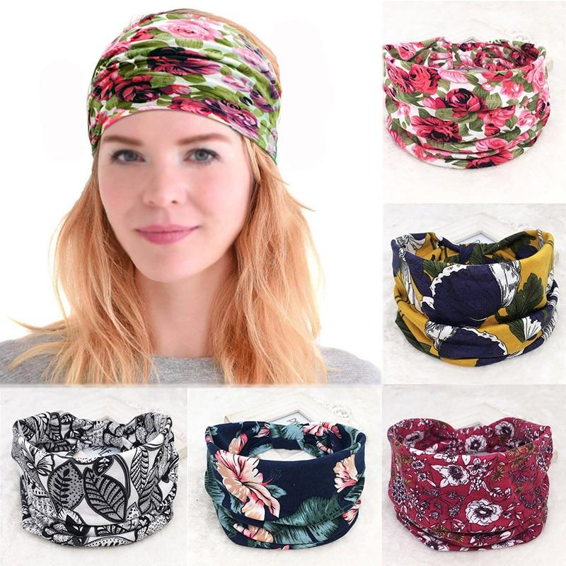 Cotton Women Headpiece Stretch Hot Sale Turban Hair Accessories 1PC Headwear Bohemia Bandage Hair Bands Headbands Wide Headwrap