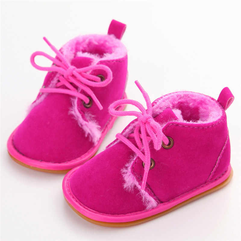 0-18 M recién nacido Niño bebé botas de piel botas de invierno cálido zapatos antideslizantes zapatillas Prewalkers