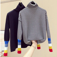 Turtleneck Women Sweater Striped Rainbow Color Block Pullover Cotton Knitted Tops Long Sleeve Thick Jumper Lady Basic Sweater
