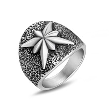 Anillo de acero de titanio con diseño de 8 esquinas para hombre, Vintage, sencillo, octogonal, anillo de flores, accesorios de joyería