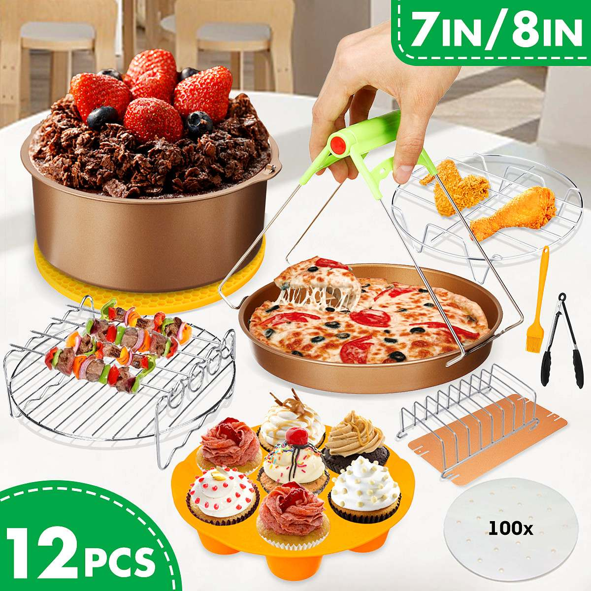 12Pcs Set 7/8 inch Air Fryer Accessories Kitchen Tools For Gowise Phillips Cozyna and Secura, Fit For  Air fryer 3.2QT to 6.8QT12Pcs Set 7/8 inch Air Fryer Accessories Kitchen Tools For Gowise Phillips Cozyna and Secura, Fit For  Air fryer 3.2QT to 6.8QT