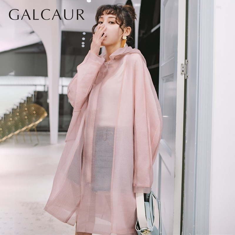 GALCAUR Perspective Hooded   Trench   Coat Female Loose Long Sleeve Women's Windbreaker Casual Oversized 2019 Spring Fashion Tide