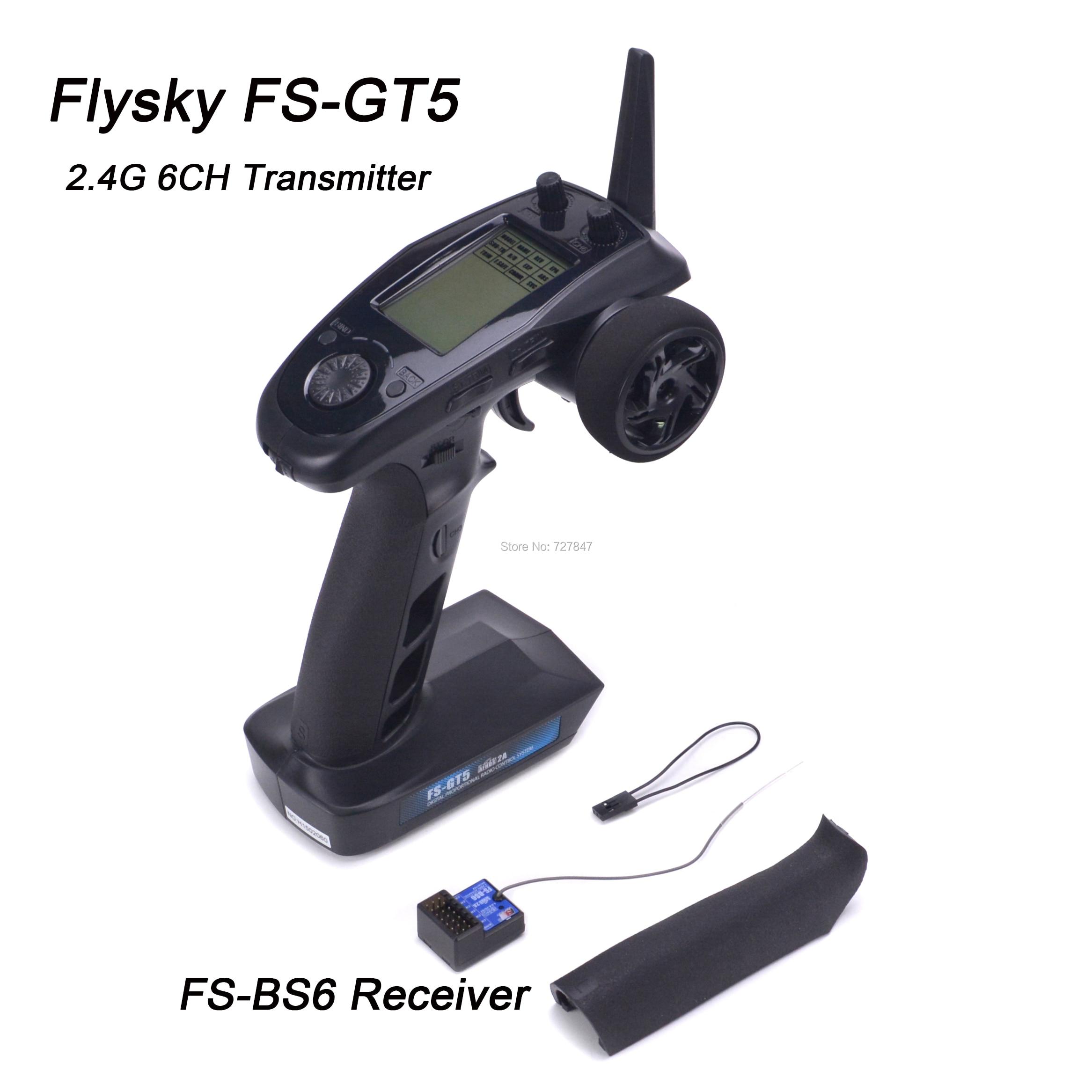 Flysky FS-GT5 FS GT5 2.4G 6CH transmetteur avec récepteur de FS-BS6 gyroscope intégré sans danger pour RC voiture bateau télécommande