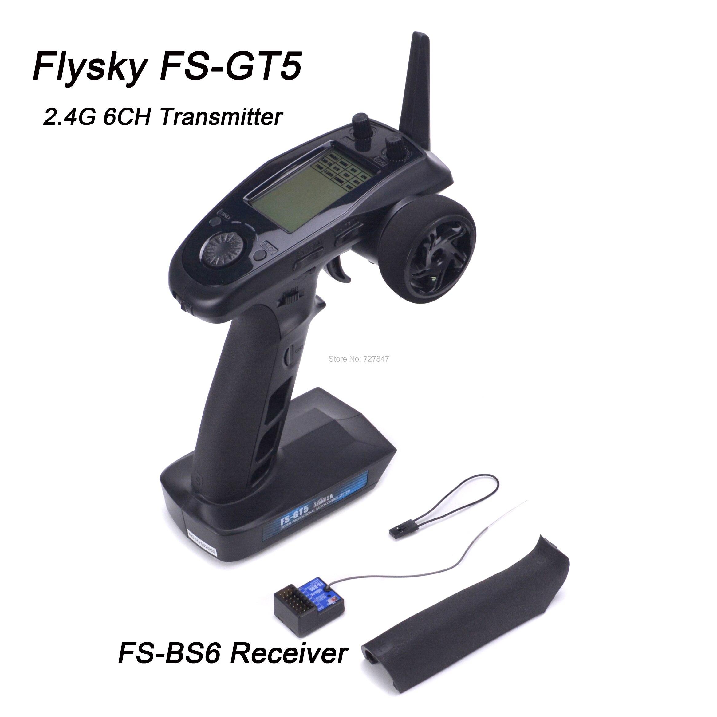 Transmisor Flysky FS GT5 FS GT5 2,4G 6CH con receptor FS BS6 giroscopio integrado a prueba de fallos para barco de coche RC control remoto-in Partes y accesorios from Juguetes y pasatiempos    1