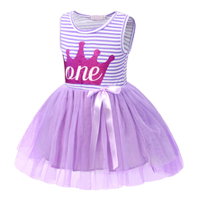 AmzBarley Baby Girls summer clothes Newborn 1st Birthday Dress Printed Crown dress Princess infant clothing