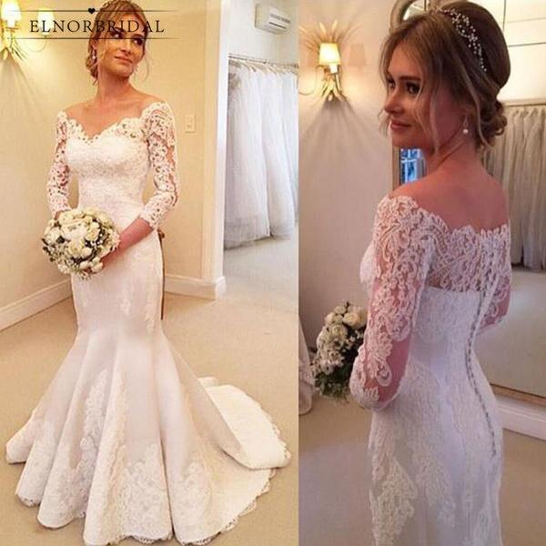 Modest Mermaid Wedding Dresses 2019 Vestidos De Novia Long Sleeved Bridal Gowns Custom Made Weddings Dress Alibaba China