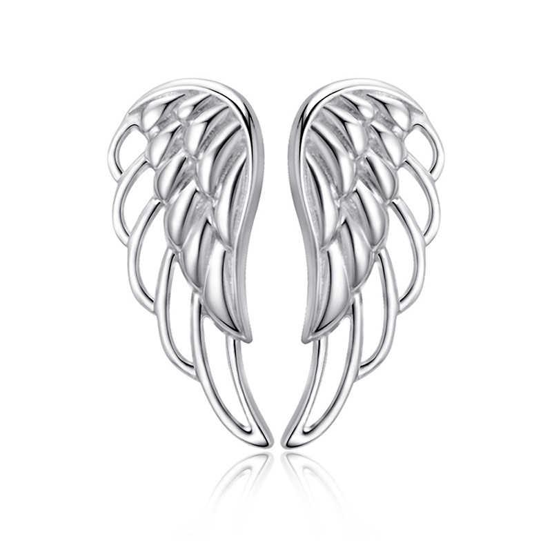 Strollgirl Genuine 925 Sterling Silver Earrings 2019 Hollow Feather Fairy Wings Stud Earrings for Women Fashion Jewelry gifts
