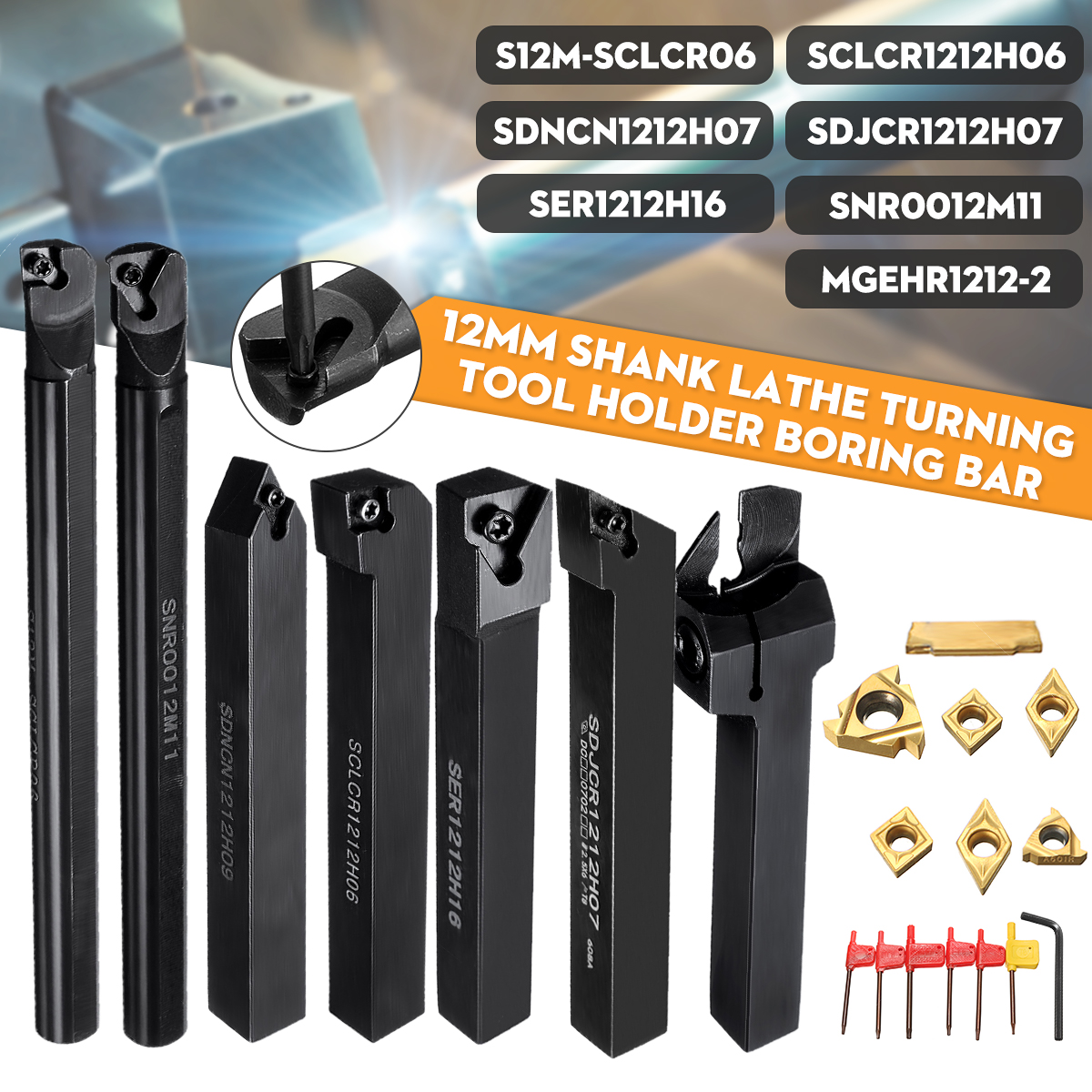 21Pcs/Set 12mm Shank Lathe Turning Tool Holder Boring Bar +Insert+Wrench S12M-SCLCR06/SER1212H16/SCL1212H06