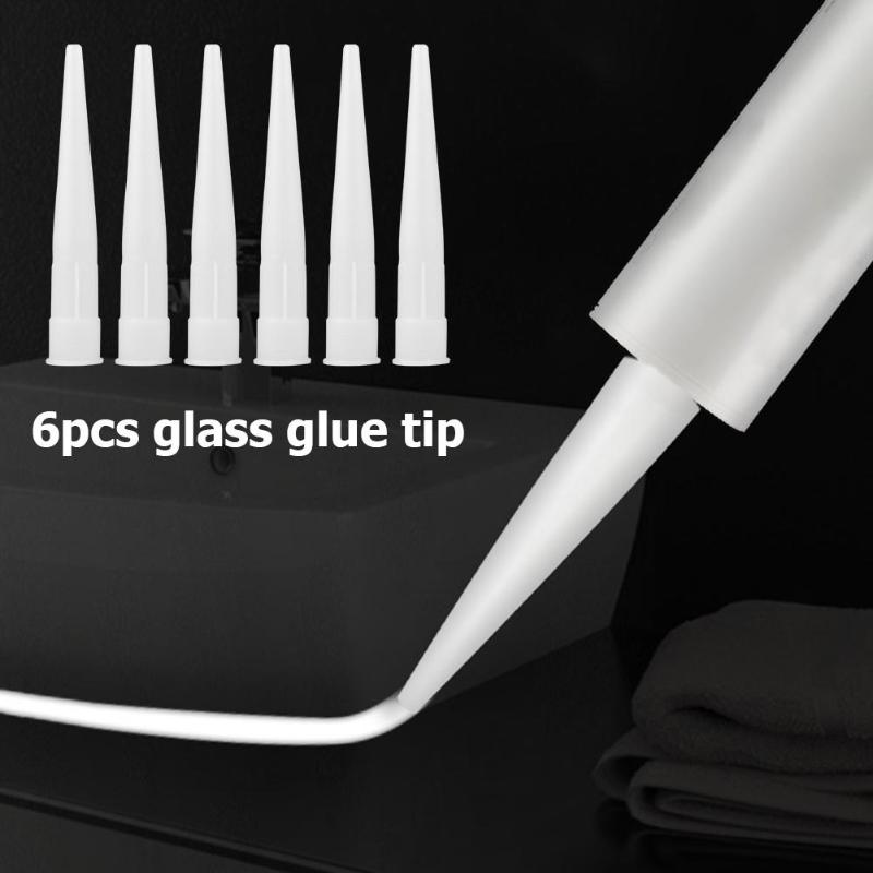 6PCS Caulking Nozzle Plastic Glass Glue Nozzle Structural Glue Mouthes Adhesive Glue Resin Static Mouth Mixing Nozzles Tube