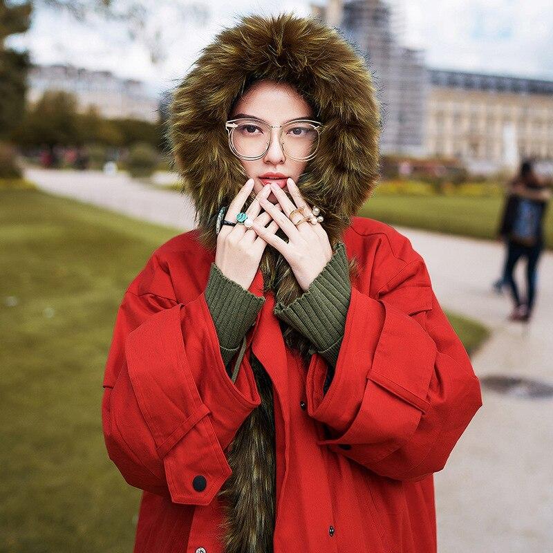 Raton Chaud Européenne Veste A578 Artificielle Vêtements Laveur À Cheveux Femmes Coton Col Rembourré Long Rust Hiver Manteau 2018 Red Épais Parka OP8wZn0NkX