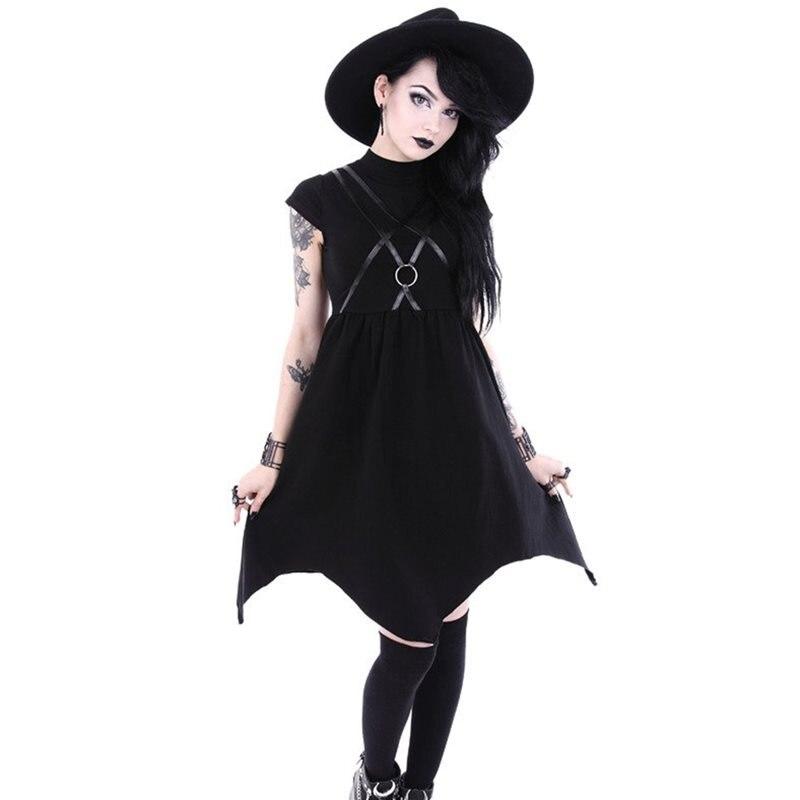 Robe d'été femmes 2019 solide noir Goth Punk Sexy Vintage élégant taille haute asymétrique à la mode gothique Streetwear robes décontractées