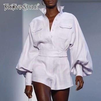 Deuxtwinstyle blanc chemise Shorts femmes deux pièces ensembles lanterne manches Blouse femme taille haute Shorts costumes printemps mode vêtements