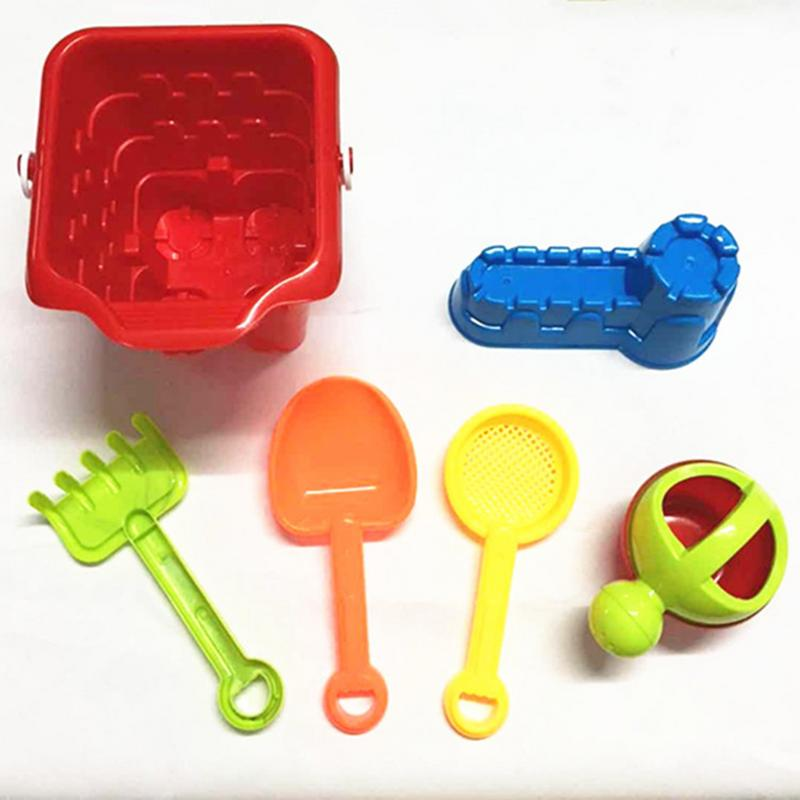Random Color 6Pcs Kids Sand Beach Toys Castle Bucket Spade Shovel Rake Water Tools Set For Kids Toys Good Gift To Kids