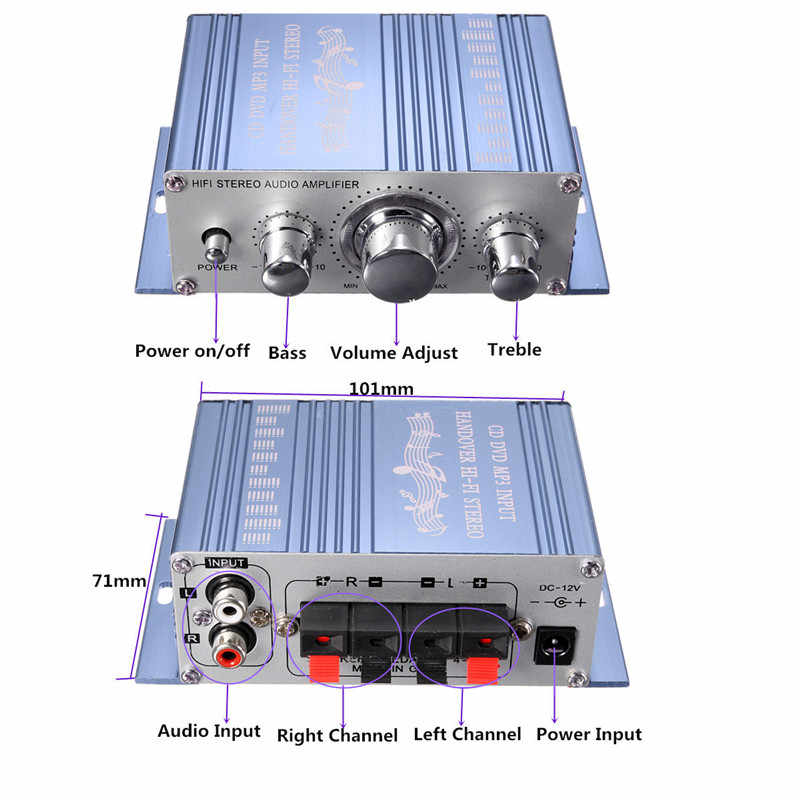KROAK Mini 20 Вт * 20 Вт HiFi стерео аудио усилитель для автомобиля MP3 FM радио лодка 2 Cananal Стерео DVD, динамик синий красный