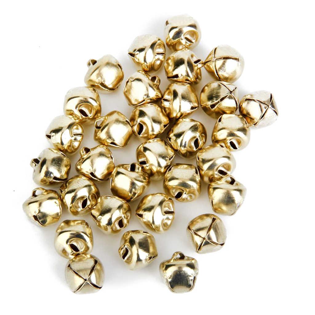 โลหะ Jingle Bells สำหรับคริสต์มาสตกแต่งเครื่องประดับทำหัตถกรรม 10mm Pack of ประมาณ 100 pcs Golden