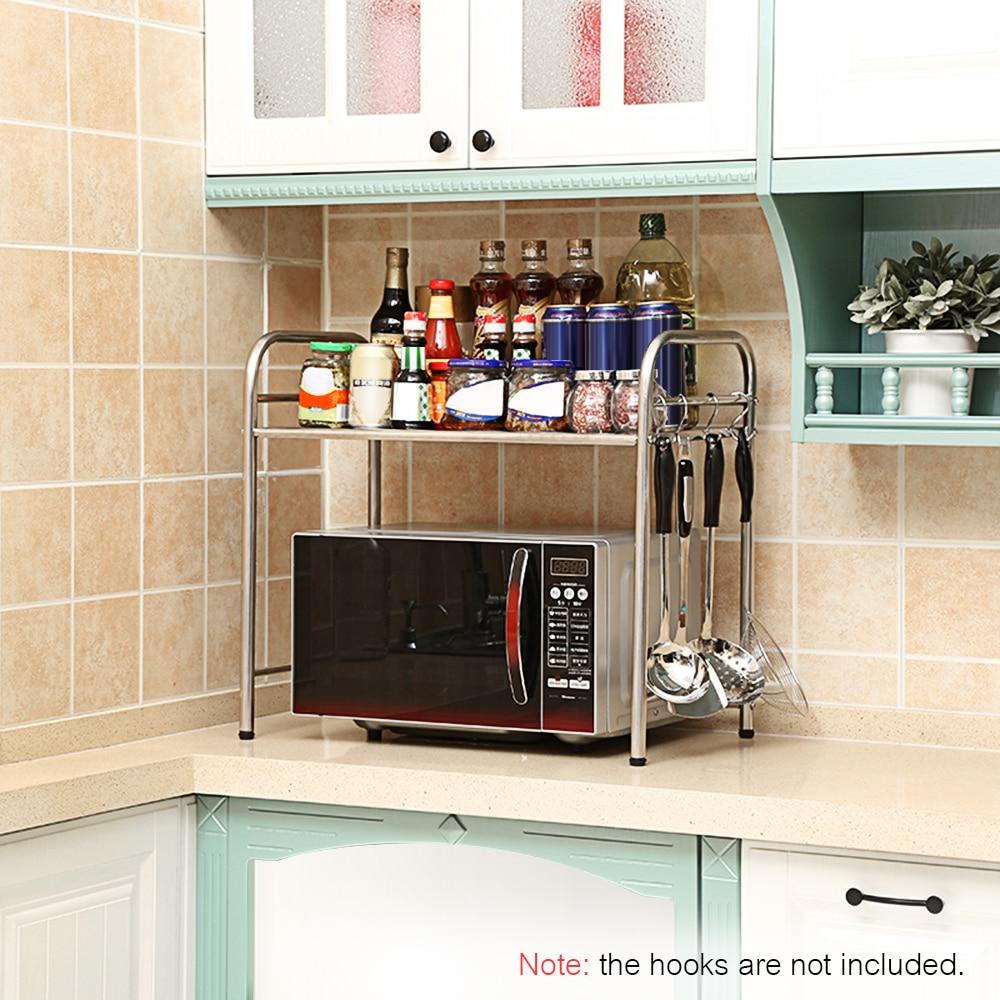 Kitchen Storage Rack Stainless Steel Microwave Oven Storage Rack Shelf Spices Jars Storage Organizer Kitchen Counter