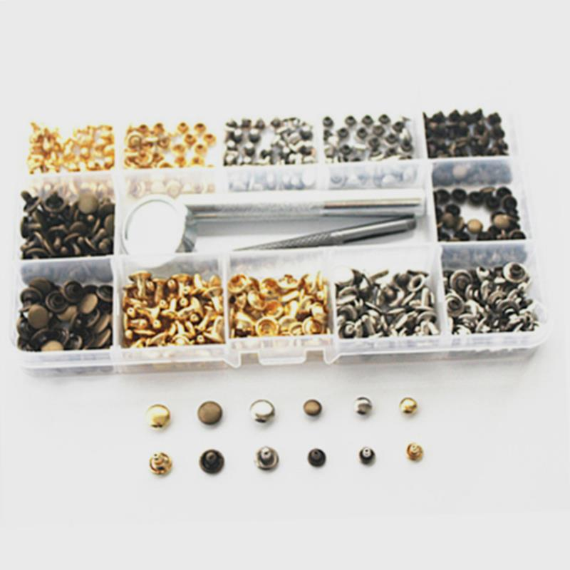 180 pcs 6mm/8mm Ensemble En Cuir Double Cap Rivets En Métal Tubulaire Goujons de Fixation Outil Kit Artisanat Leathercraft vêtement Rivets