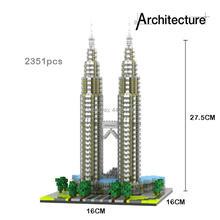 LegoINGlys creators city Street view Malaysia Kuala Lumpur Center Petronas Twin Towers micro diamond building blocks toys gift megadeth kuala lumpur