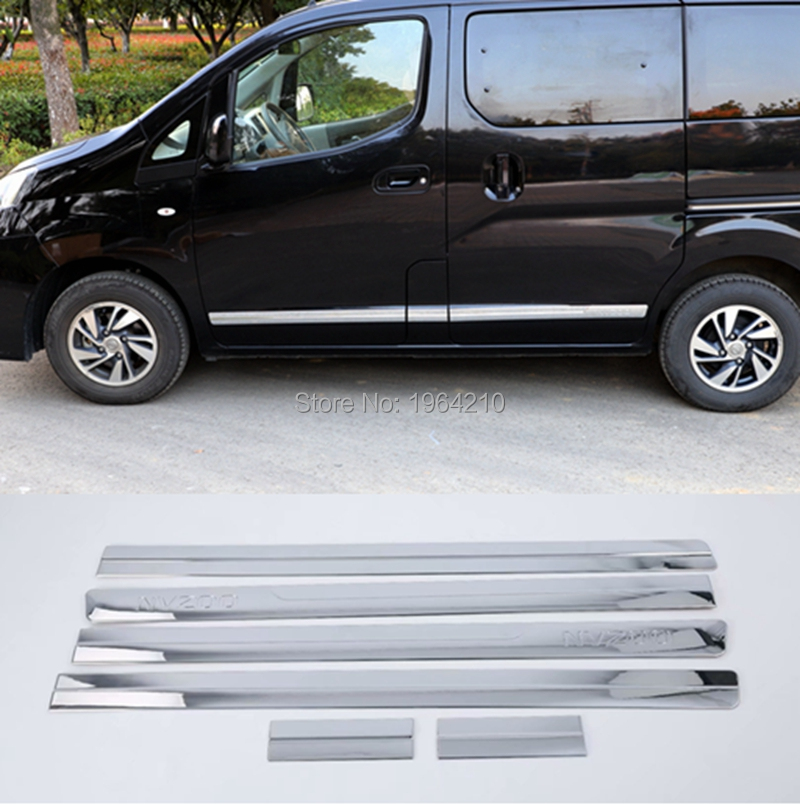 MONTFORD Car Styling For Nissan NV200 2010-2018 ABS Chrome Body Trim Door Linings Side Molding Streamer Cover Trims Frame 6PcsMONTFORD Car Styling For Nissan NV200 2010-2018 ABS Chrome Body Trim Door Linings Side Molding Streamer Cover Trims Frame 6Pcs