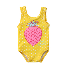 Pineapple Beachwear For Girls Summer Toddler Baby Girls One Piece Swimwear Sleeveless Swimsuit Bathing Suit One Piece Bikinis недорого
