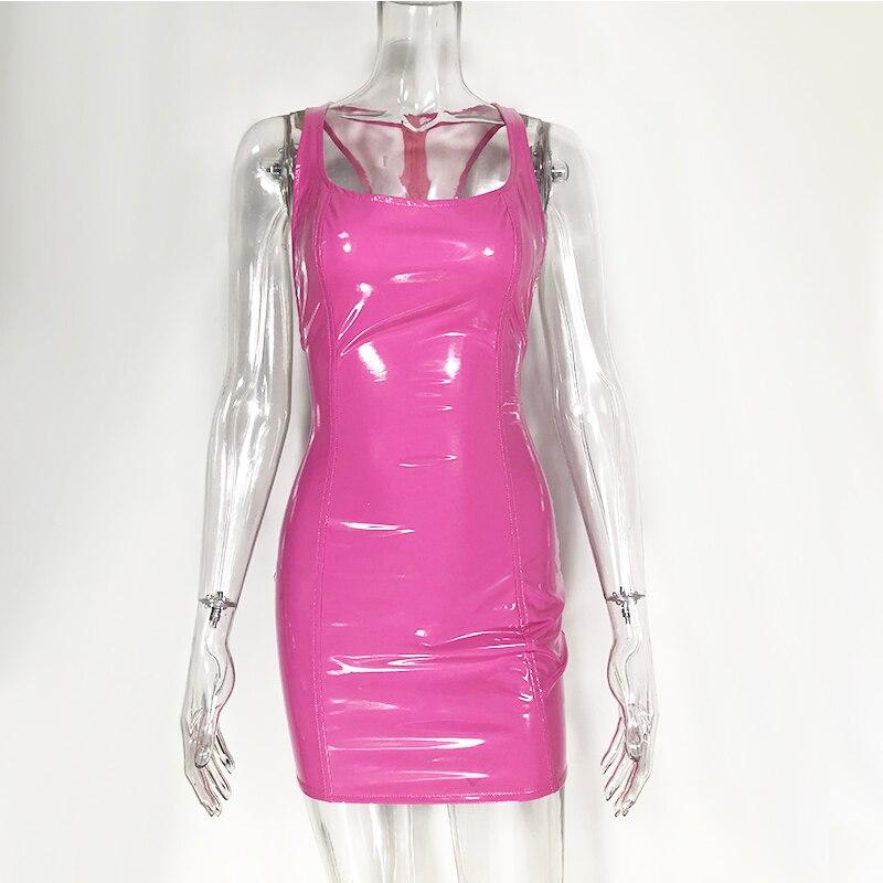 707ddf1ee8a BOOFEENAA неоновый розовый зеленый облегающее Бандажное платье сексуальное  ночное Клубное вечернее платье для женщин Ruched Спагетти