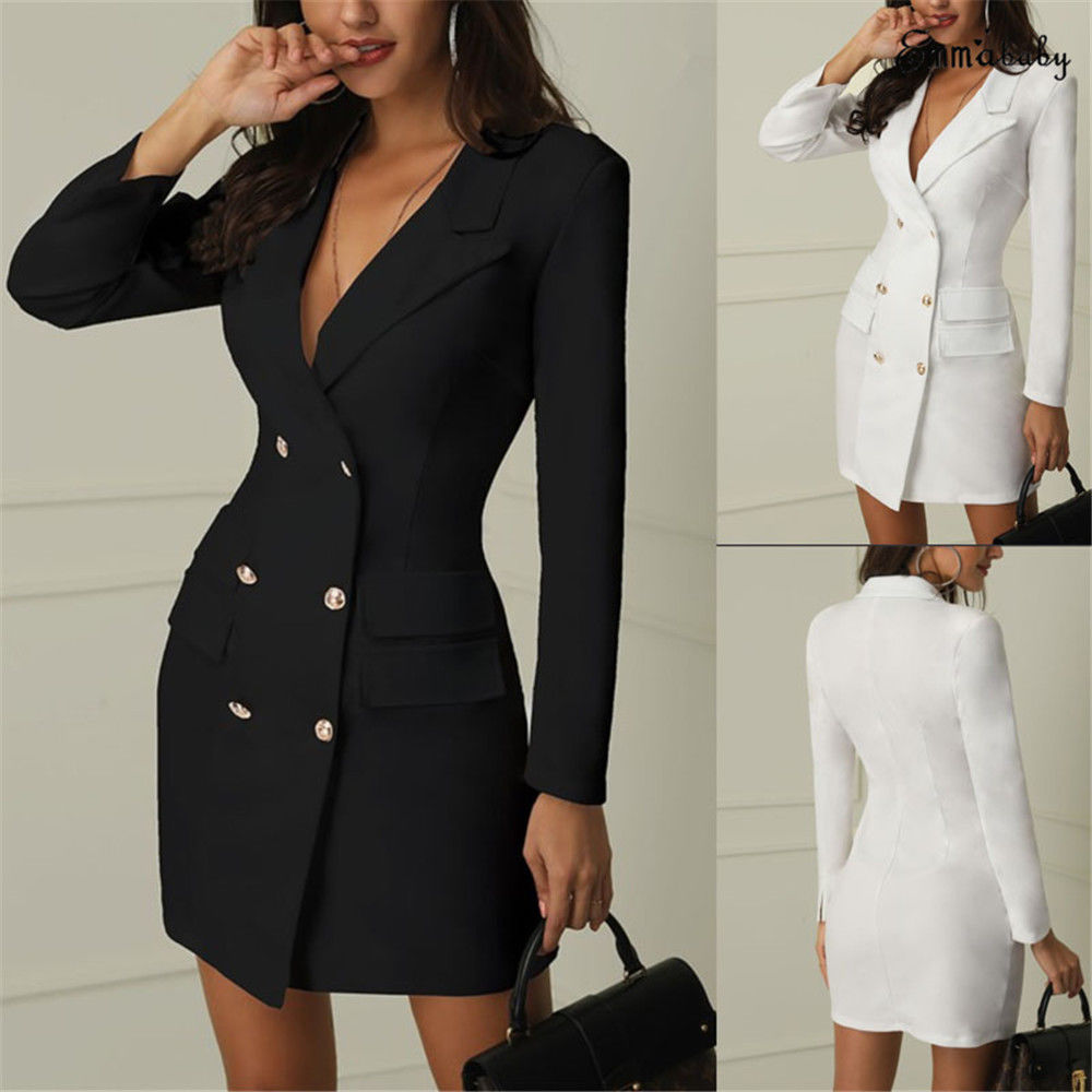 2019 New Fashion Womens Double Breasted Pocket Suit Blazer Spring Autumn Women Long Jackets Elegant Long Sleeve Blazer Outerwear