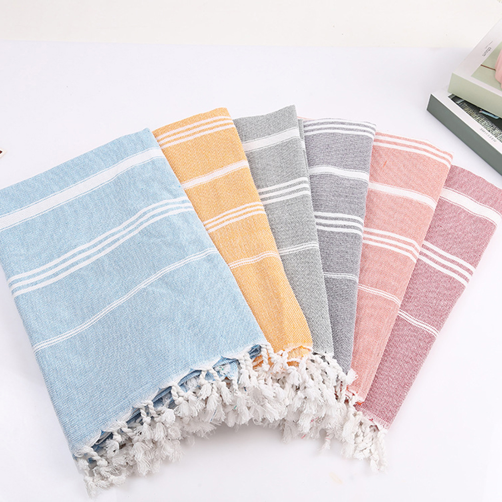 6 Colors Turkish Bath Towel With Tassels Thin Travel