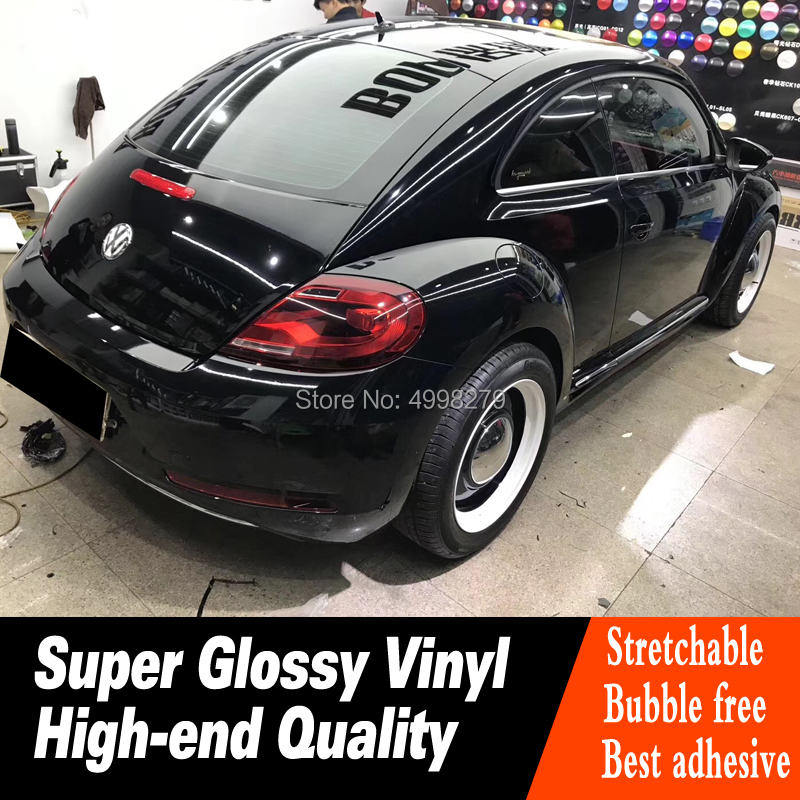 super Gloss Black Vinyl Wrap Adhesive Film 20m/roll Air Release Decal Sheet Gloss Black Vinyl Wrap Adhesive Film for High end