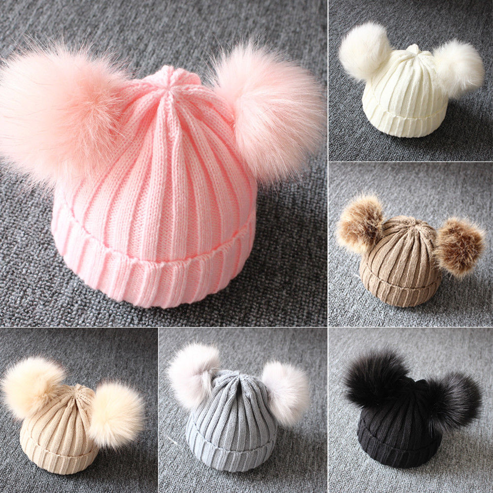 Hat Beanie Pompom Double-Pom-Poms Faux-Fur Ears Funny Toddler Girls Baby Winter Kids