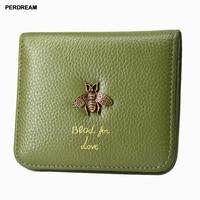 Fashion Lady Zipper Purse Leather Short Wallet Women Small metal bee Purse Female Mini wallets High quality new