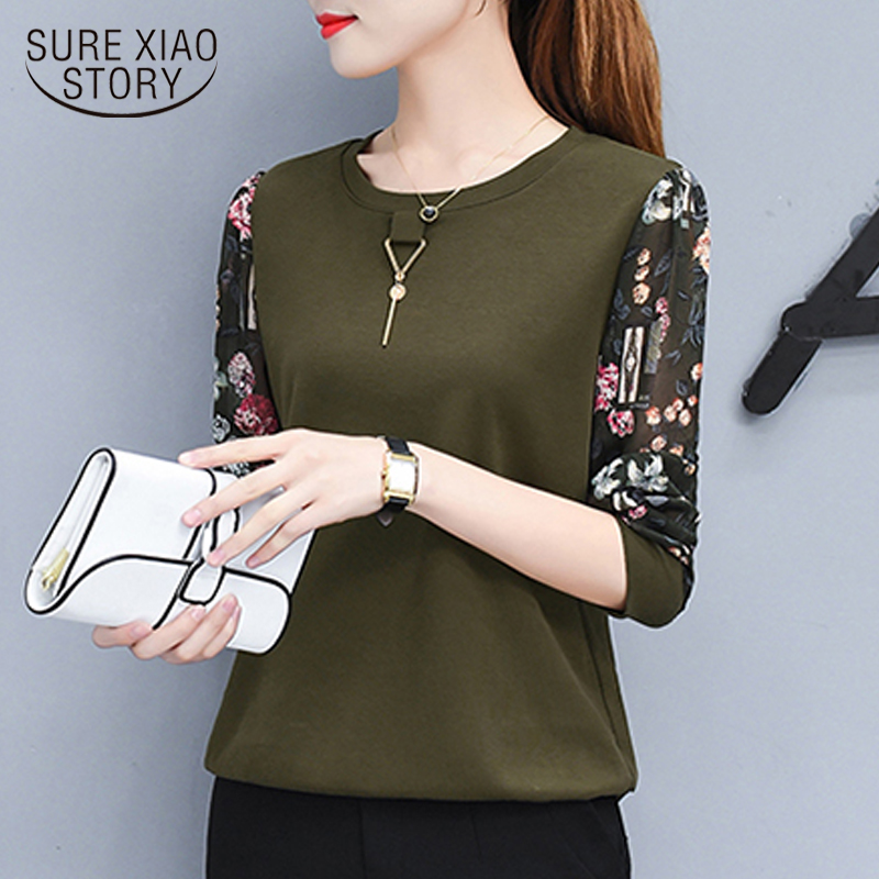 new autumn long sleeved blouse casual women tops spliced printed blouse shirt female o-neck full 2019 women clothing 0595 30