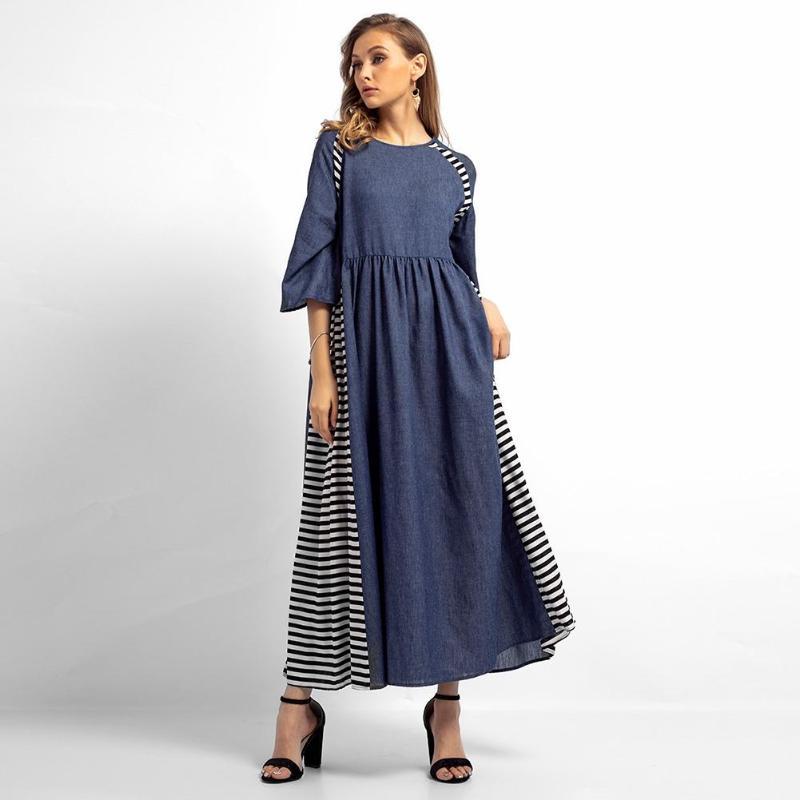 New Casual Women Denim Muslim Dresses Stripe Long Sleeve High Waist Clothing Autumn Cotton Loose O-Neck Maxi Long Dress Female