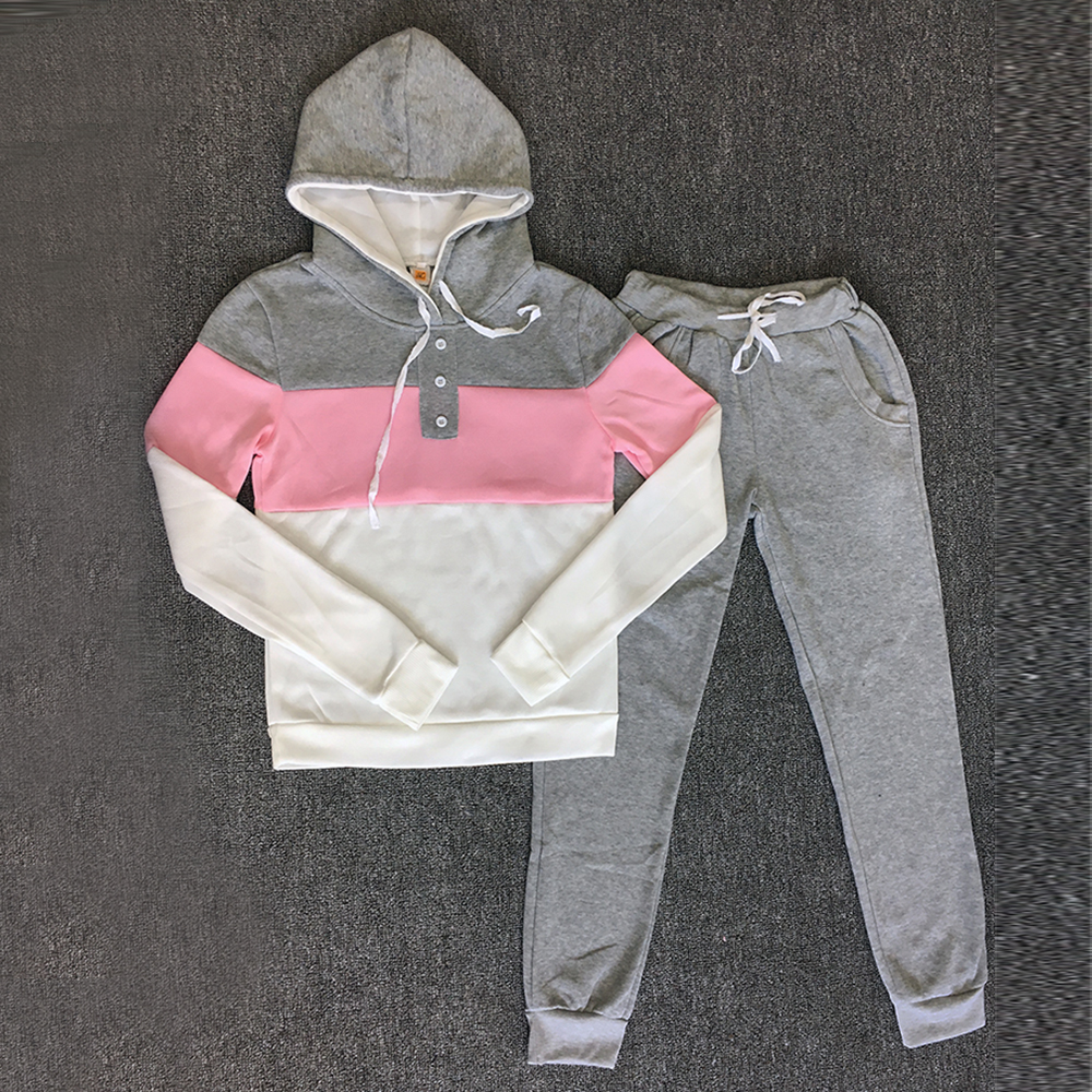 Tracksuit 2pcs Women Set Hoodies Crop Top Sweatshirt+Side Stripe Pants Hooded 2 Pieces Sets Women Clothing Plus Size Suit Female
