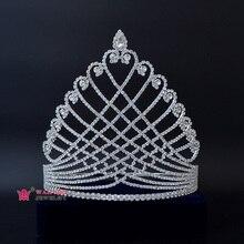Tiaras Jewelry Hairwear Beauty Pageant Fashion Rhinestone for 00023 Crown Crystal Tall