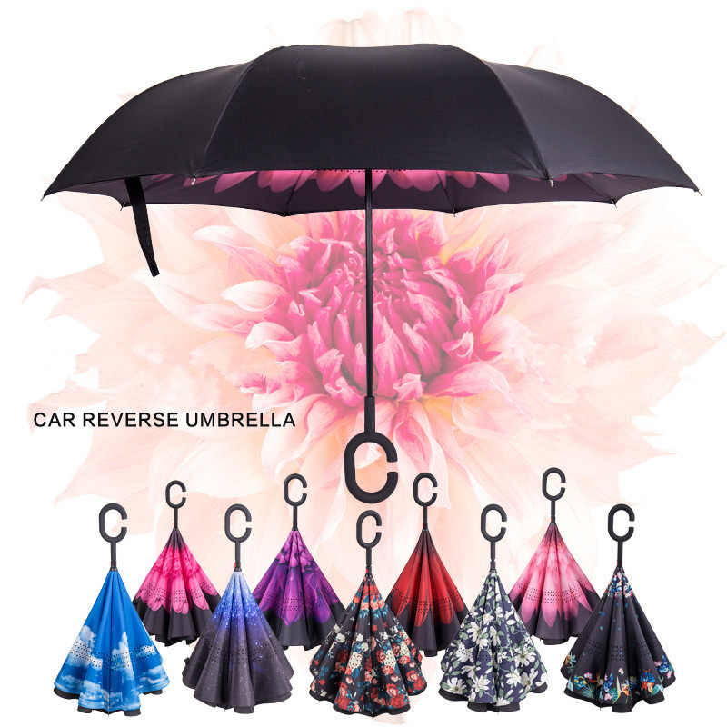 Hot Sale Windproof Reverse Folding Double Layer Inverted Rain Umbrella Self  Stand Rain Protection C Hook Hands For Car| | - AliExpress