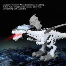 Electric Dinosaur Robot Model Toy with Walking Spray Function Roar Sound Colorful LED Light Dinosaur World Toy For boy girl Gift(China)