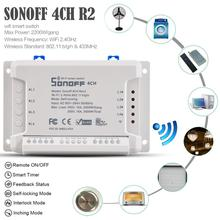 Sonoff 4CH R2 Smart Wifi Home Switch 433MHz Light 4 Gang 3 Working Mode Pulse Interlock With Alexa