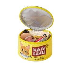 Cat Еда узор может мешок тряпичный кошелек творческий цилиндрический Органайзер туалетных принадлежностей сумка для набора косметики посылка аксессуары