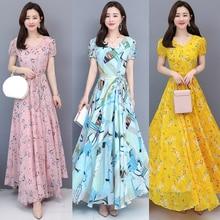 summer wears 2019 korean style bodycon womens vintage chiffon floral long  dresses plus size boho maxi 3XL swing bohemian